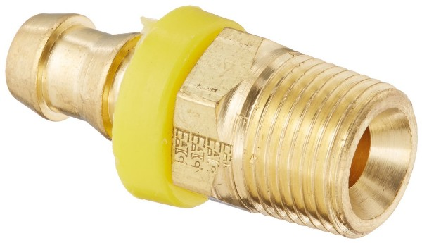 "3/8"" BRASS TUBE TO INVERTED MALE RIGID HOSE FITTING - 3/8"" ID"