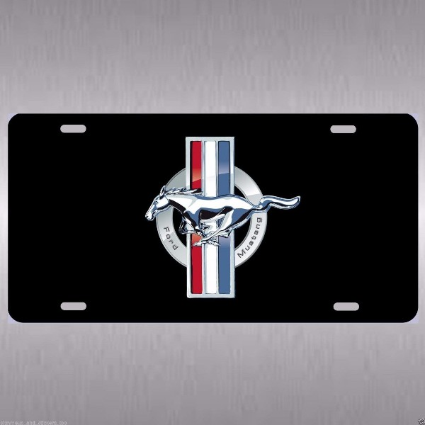 LICENSE PLATE - FORD MUSTANG EMBLEM, BLACK