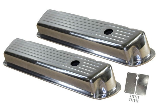 62-85 BALL MILLED POLISHED ALUMINUM SMALL BLOCK VALVE COVERS