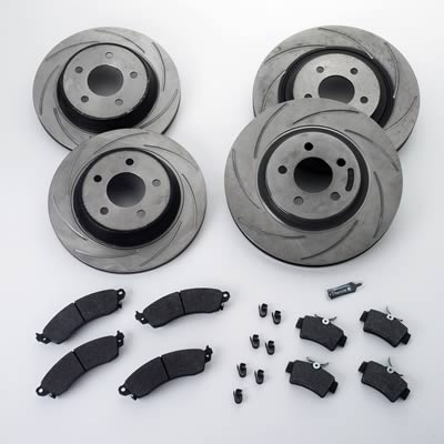 94-04 COBRA TURBO SLOTTED ROTORS & PERFORMANCE PADS (4 WHEELS)