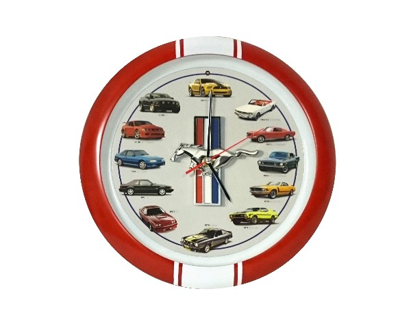 64-13 WALL CLOCK WITH ENGINE SOUNDS - RED / WHITE