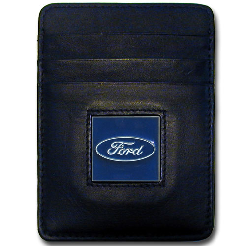 FORD GENUINE LEATHER MONEY CLIP / CARDHOLDER