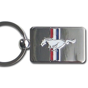 KEY RING -CHROME TRI-BAR MUSTANG