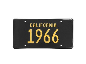 66 CALIFORNIA LICENSE PLATE