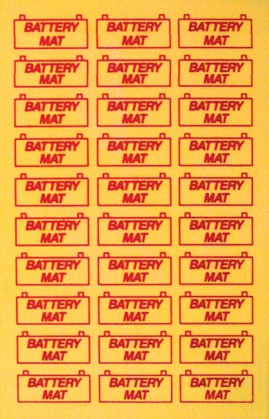 "BATTERY MAT- 8"" x 12"" - YELLOW"