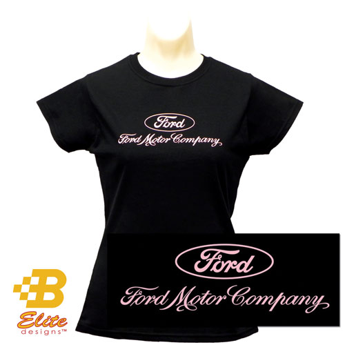 LADIES T-SHIRT - FORD MOTOR COMPANY - BLACK - LARGE
