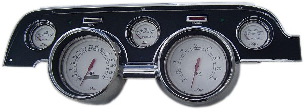 67 ORIGINAL STYLE BEZEL WITH MP WHITE FACE GAUGES