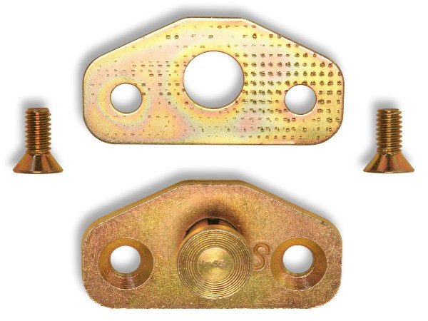 64-66 DOOR STRIKER PLATE WITH SHIM & SCREWS