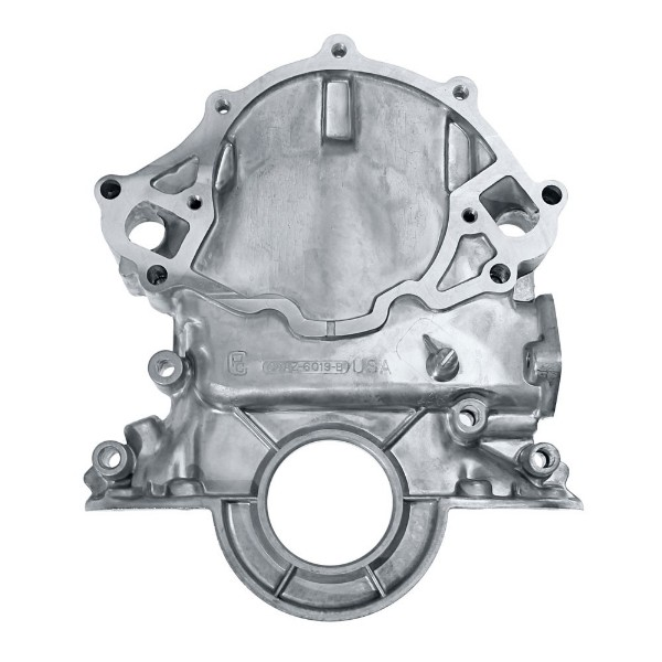 65-66 TIMING CHAIN COVER -EARLIER WITH CASTED POINTER AND IRON P