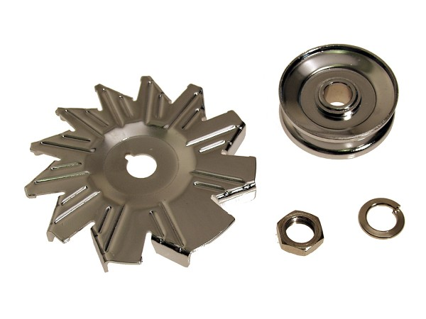 65-73 CHROME ALTERNATOR FAN AND PULLEY SET - 4 PCS
