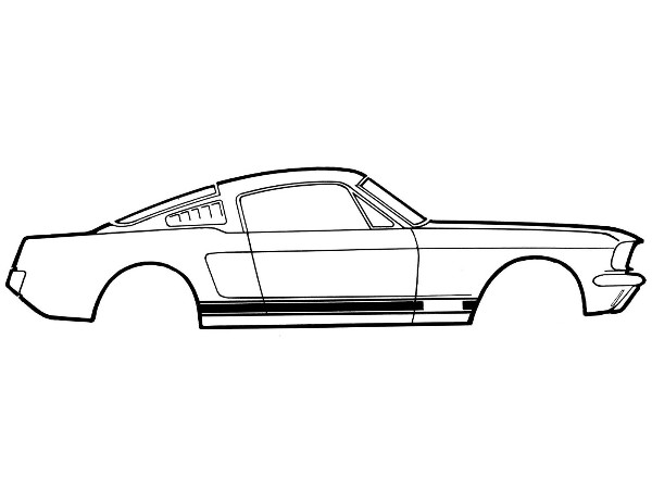 65-66 GT STRIPE KIT TYPE 1 WHITE