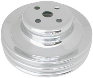 65 289 2 GROOVE WATER PUMP PULLEY - CHROME