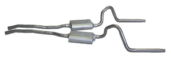"65-69 V8 DUAL EXHAUST SYSTEM - 2 1/4"" FLOWMASTER"