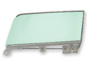 67-68 LH FASTBACK DOOR GLASS - WITH FRAME - TINTED