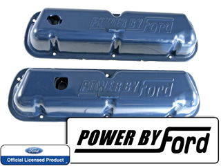68-72 OE SMALL BLOCK VALVE COVERS- BLUE-POWERED BY FORD