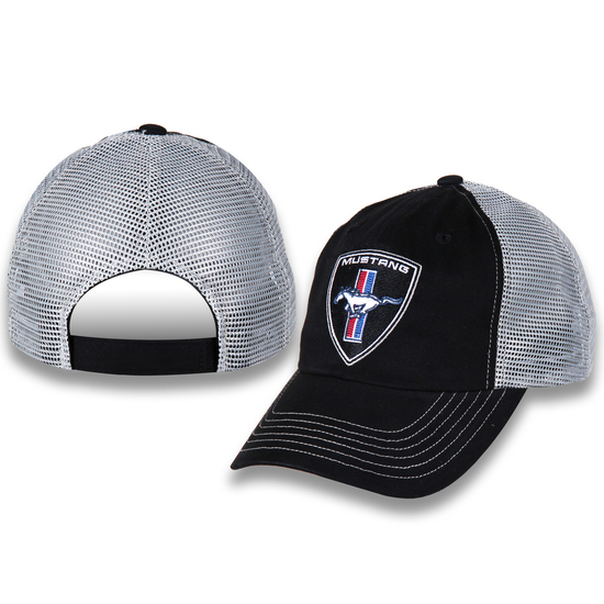 BLACK / WHITE MUSTANG PONY PATCH MESH HAT