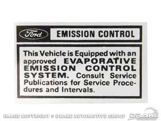 70 EMISSION CONTROL INFOMATION DECAL