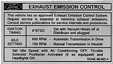 EMISSION DECAL 70 351C-2V AUTO. OR MAN. TRANS.