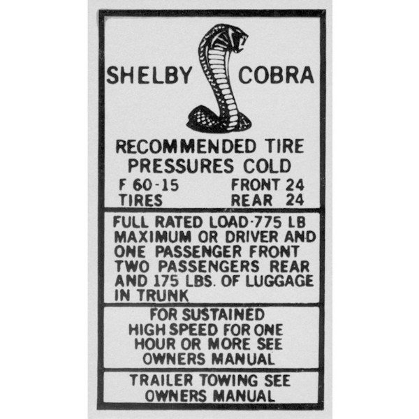69-70 SHELBY GLOVE BOX TIRE PRESSURE DECAL