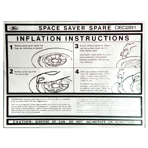 67-73 SPACE SAVER INFLATION, TRUNK LID DECAL