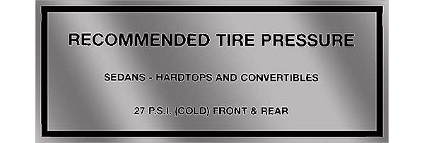 63-65 FALCON RECOMMENDED TIRE PRESSURE DECAL