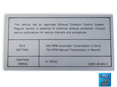 68-70 IDLE SPECIFICATIONS DECAL 200 250 302-2V