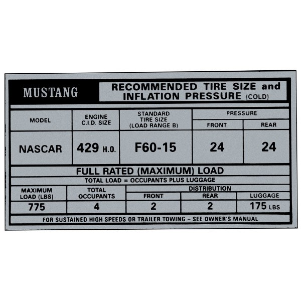 69-70 BOSS 429 TIRE PRESSURE DECAL - IN GLOVE BOX
