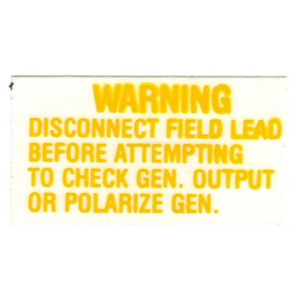 64-1/2 -66 VOLTAGE REGULATOR WARNING DECAL