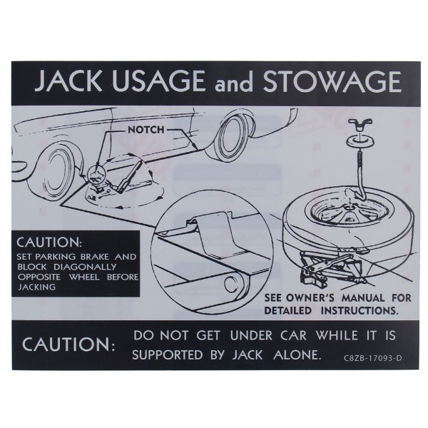68 JACK INSTRUCTION DECAL W STYLE STEEL WHEEL