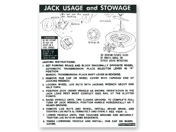 73 CONVERTIBLE - JACKING AND JACK STORAGE DECAL