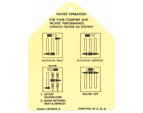 64-65 HEATER INSTRUCTIONS TAG