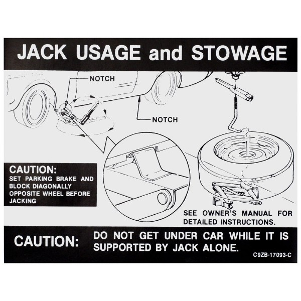 69-70 JACK USAGE DECAL WITH REGULAR WHEEL