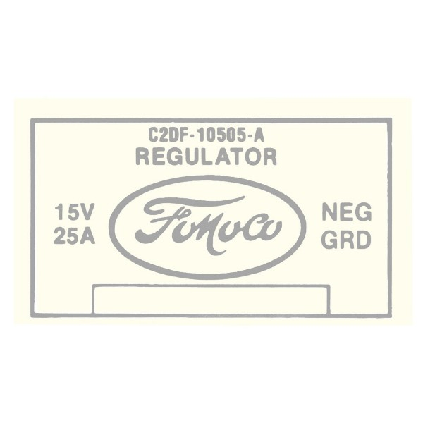 64 VOLTAGE REGULATOR DECAL - WITHOUT A/C W/GENERATOR