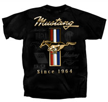 FORD GOLDEN TRIBAR MUSTANG SINCE 1964 BLACK T-SHIRT - LARGE