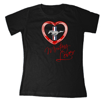 BLACK FORD RED HEART MUSTANG LOVER SCOOP NECK T-SHIRT - LARGE