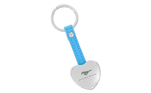 MUSTANG BLOCK - BLUE LEATHER KEY CHAIN - WITH HIDDEN PHOTO FRAME