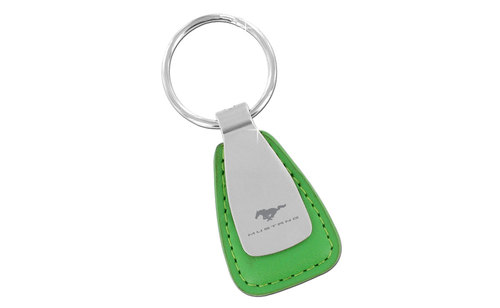 MUSTANG BLOCK - GREEN LEATHER TEAR DROPKEY CHAIN - SATIN FRONT