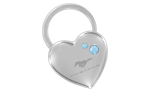 MUSTANG BLOCK - CHROME HEART SHAPE KEY CHAIN - BLUE