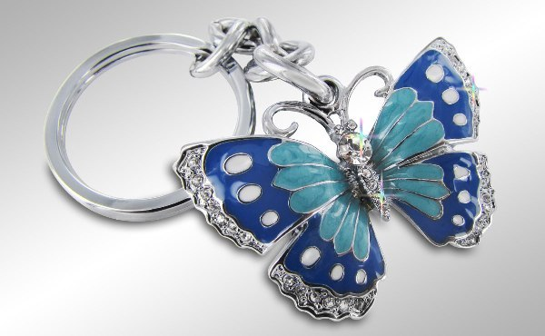 MUSTANG BLOCK - GREEN AND BLUE BUTTERFLY KEY CHAIN - CLEAR
