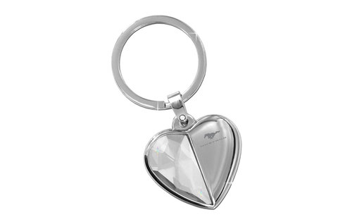 MUSTANG BLOCK - HALF CRYSTAL & HALF METAL HEART SHAPE KEY CHAIN