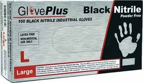 BLACK NITRILE GLOVES - POWDER FREE - LARGE