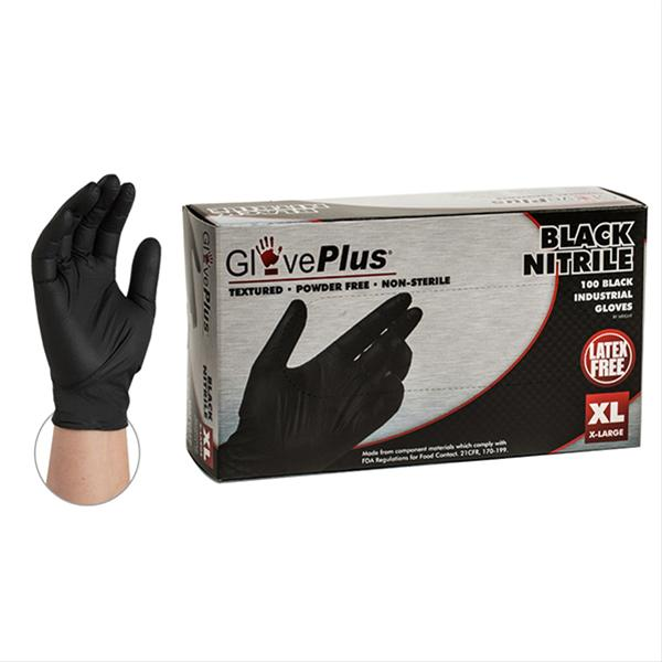 BLACK NITRILE GLOVES - POWDER FREE - XLARGE