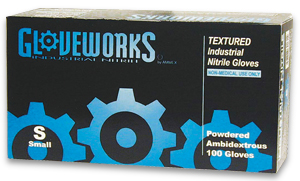 NITRILE TEXTURED POWDERED WORK GLOVES - LARGE