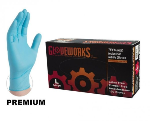 NITRILE TEXTURED WORK GLOVES POWDER FREE- LARGE