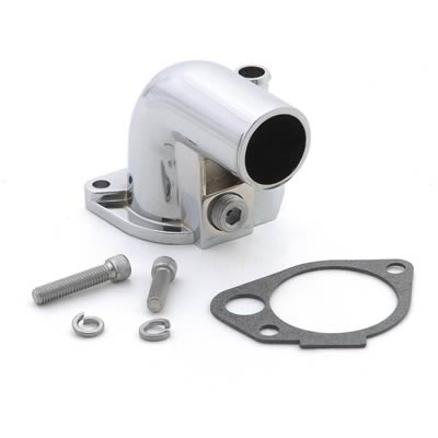 5.0 90 DEGREE THERMOSTAT HOUSING - CHROME