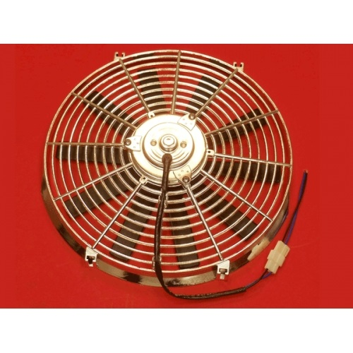 "14"" STRAIGHT BLADE REVERSIBLE FAN - 12V/160W/1900 CFM - CHROME"