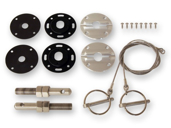 64-73 BILLET STAINLESS HOOD PIN KIT WITH CABLE