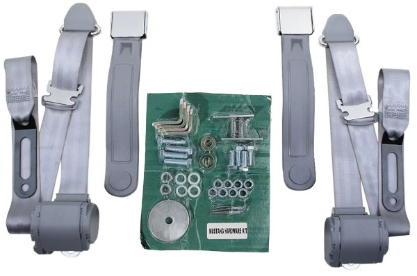 "116"" 3 POINT CHROME LIFT LATCH FRONT SEAT BELT KIT - WHITE"