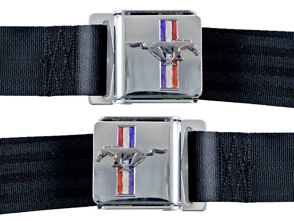 SEAT BELTS - BLACK WITH MUSTANG EMBLEM