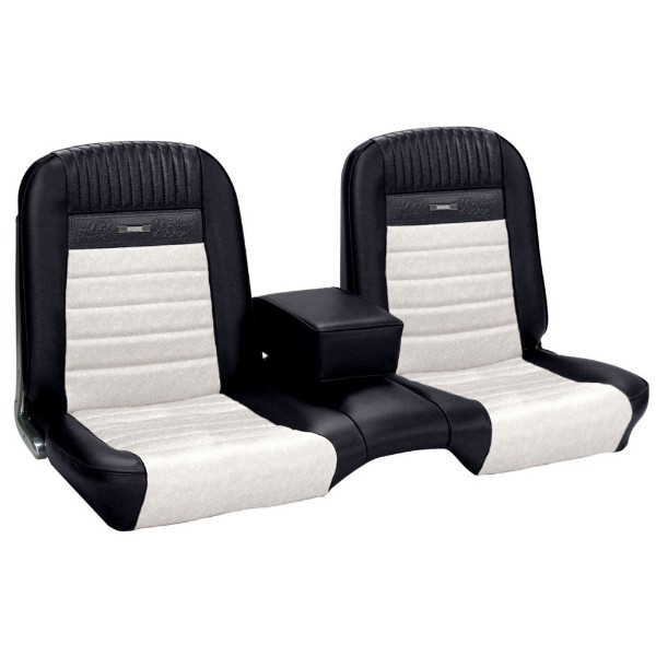UPHOLSTERY 65 PONY COUPE BENCH FULL SET BRIGHT RED / WHITE - TMI